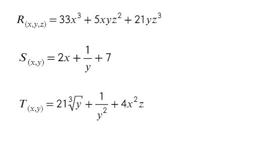 Ejemplos de expresión algebraica