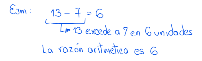 ejemplo de razón aritmética