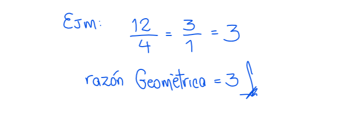 ejemplo de razón geométrica
