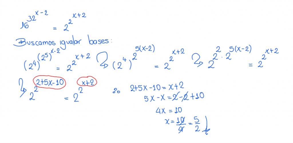 ecuaciones exponenciales ejercicios resueltos 9.2