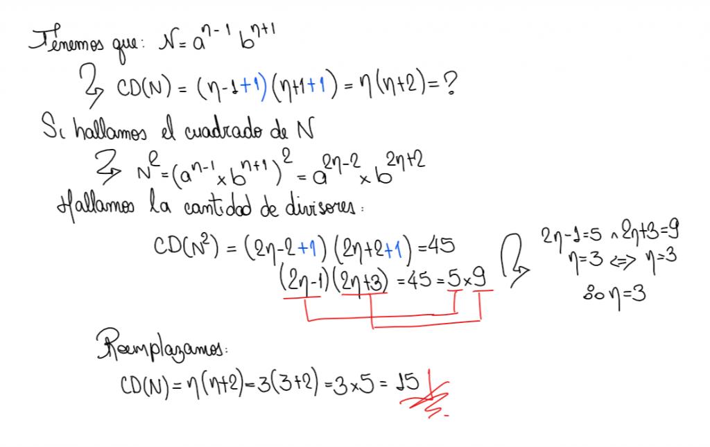 Cuántos divisores tiene un  numeral para que su cuadrado tenga 45 divisores, números primos