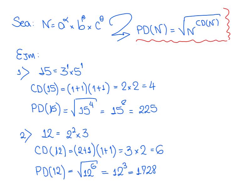 Producto de divisores de un número
