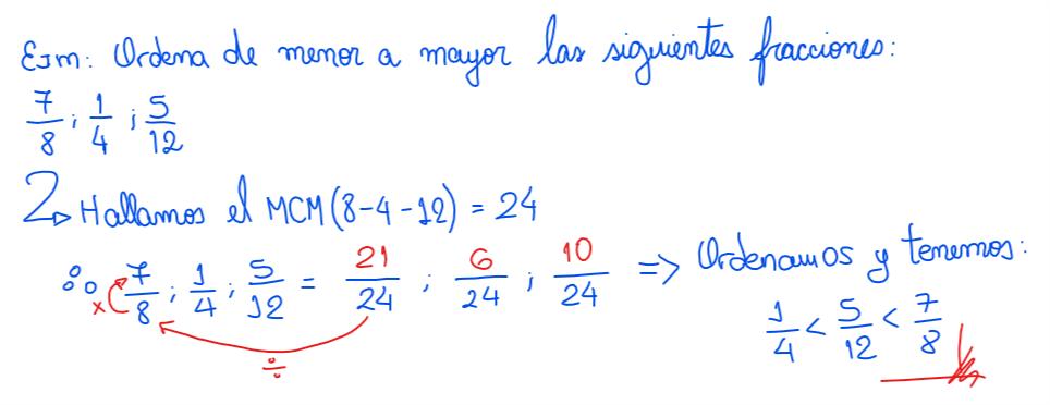 ejemplo sobre comparación de fracciones