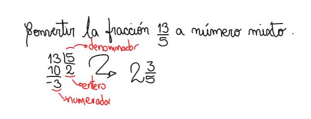 ejemplo de conversión de fracción a número mixto