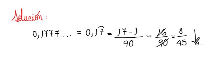 solución ejercicio 1 fracción generatriz