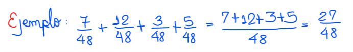 suma de fracciones homogéneas