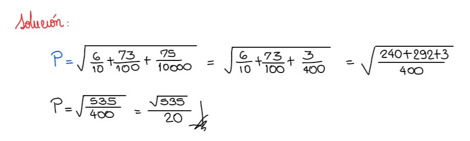 solución del ejercicio 3 fracción generatriz