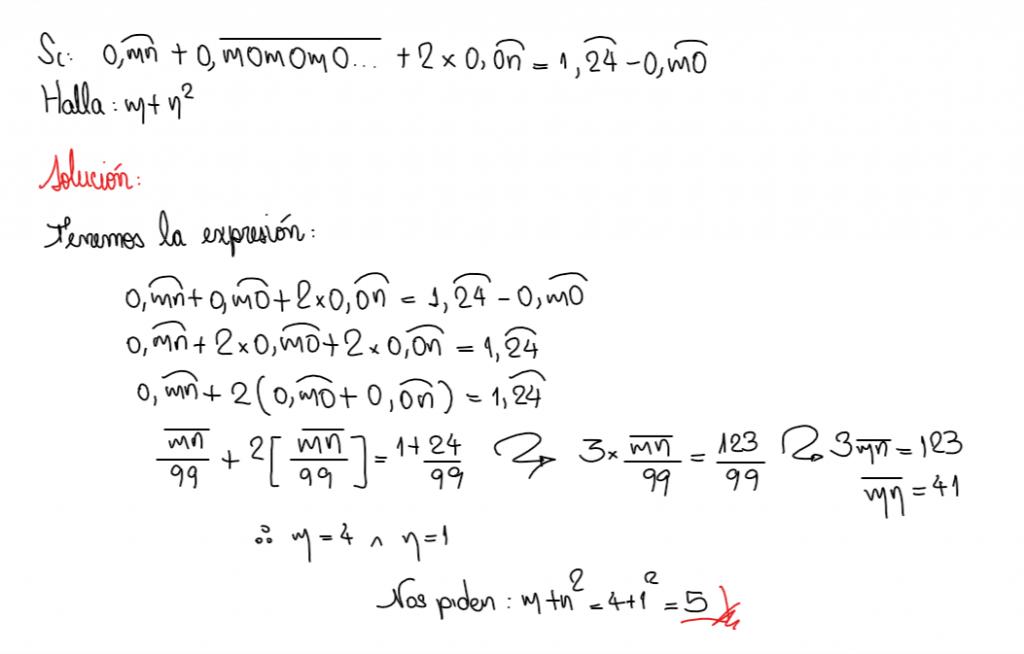 Solución del ejercicio 9 conversión de número decimal a fracción generatriz
