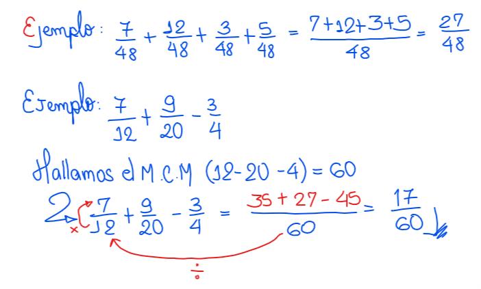 suma de fracciones heterogéneas