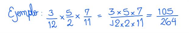 ejemplo de multiplicación de una fracción por otra fracción