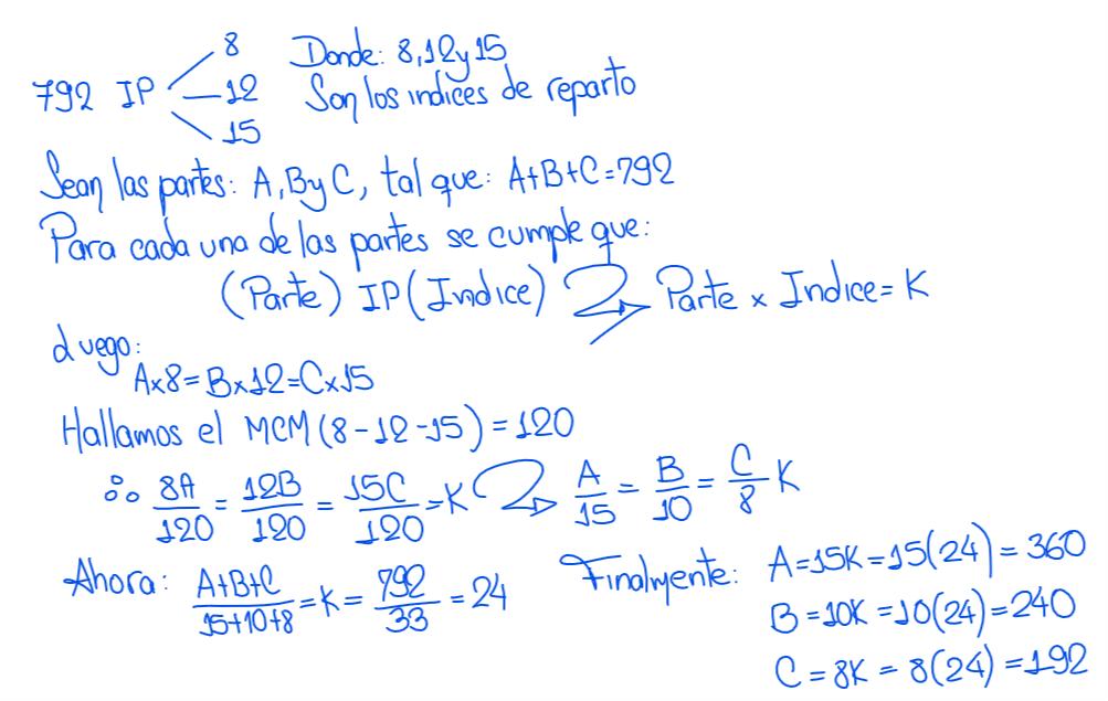 reparto proporcional simple inverso