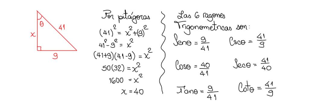 ejemplo de las 6 razones trigonométricas
