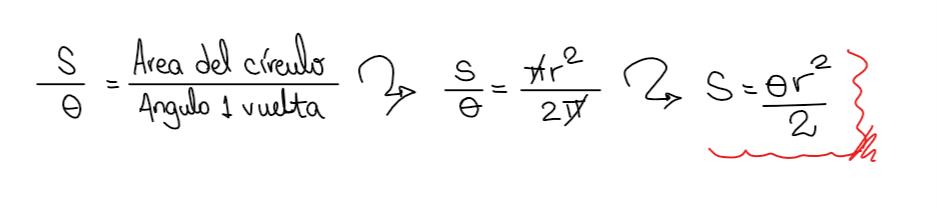 calculo del área del sector circular