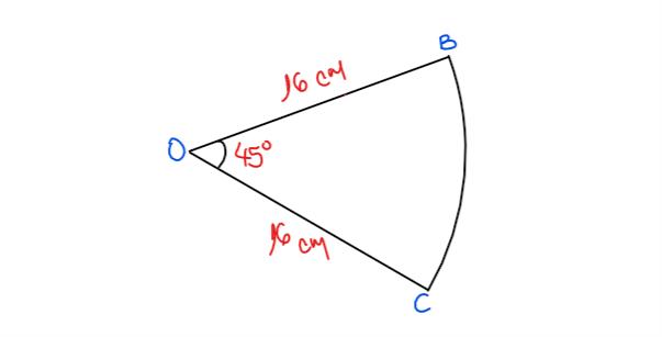 ejercicio para calcular el área de un sector circular