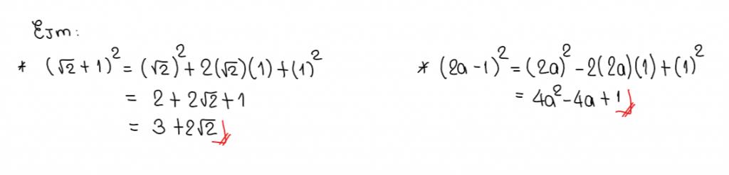 ejemplos de como aplicar el binomio del cuadrado