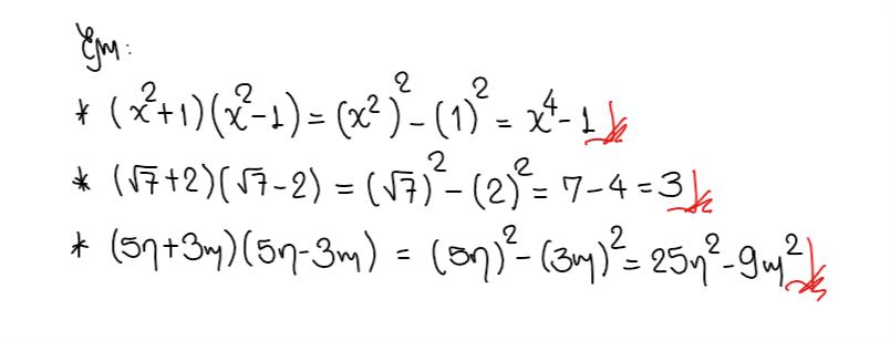 ejemplos diferencia de cuadrados