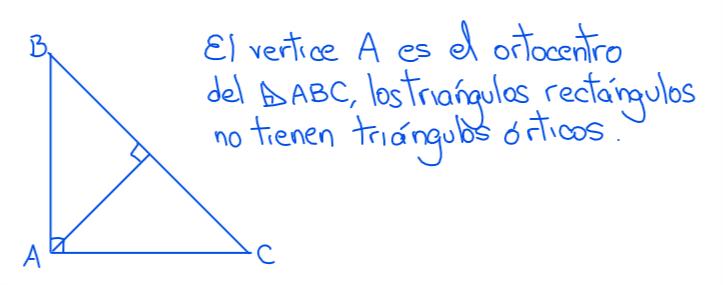 ortocentro en el triángulo rectángulo