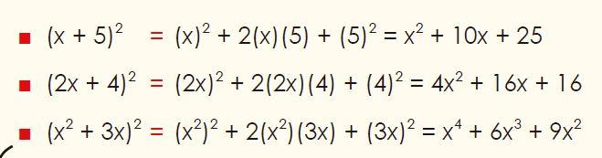 cuadrado de la suma ejemplos